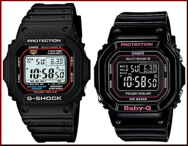 カシオ/G-SHOCK【CASIO/BABY-G】ペアウォッチ ソーラー電波腕時計 ブラック【国内正規品】GW-M5610-1JF/BGD-5000-1JF