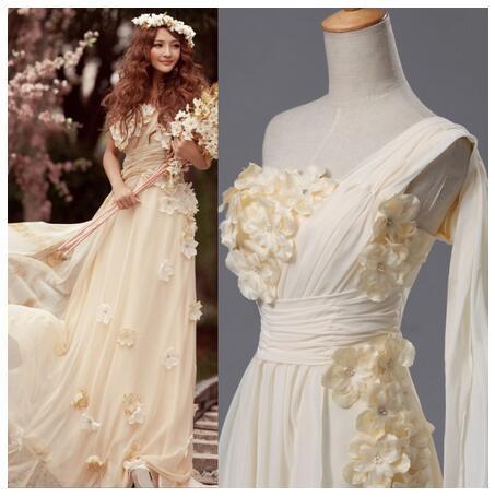 ウエディングドレス ワンショルダー トレーン ドレス メイドドレス 花嫁二次会 ロング 結婚式 披露宴 妊婦さん