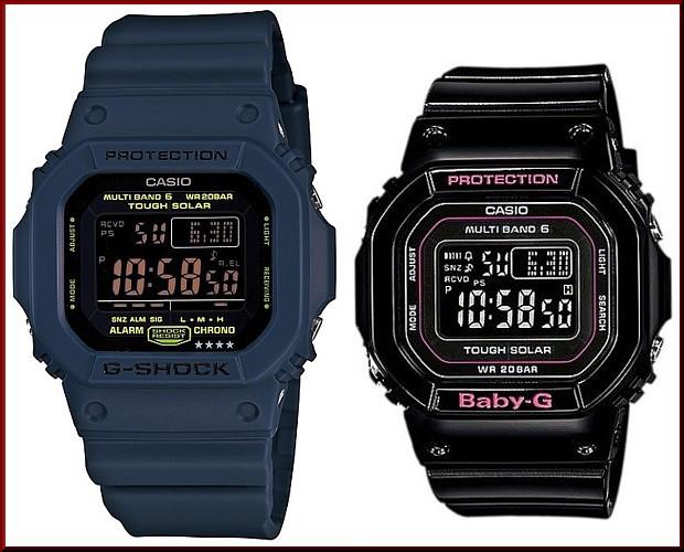 カシオ/G-SHOCK【CASIO/BABY-G】ペアウォッチ ソーラー電波腕時計 ネイビー/ブラック【国内正規品】GW-M5610NV-2JF/BGD-5000-1JF