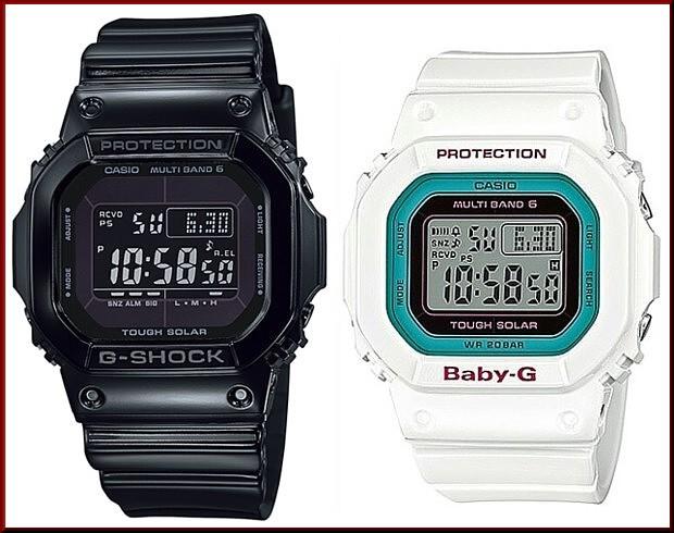 カシオ/G-SHOCK【CASIO/BABY-G】ペアウォッチ ソーラー電波腕時計 ブラック/ホワイト【国内正規品】GW-M5610BB-1JF/BGD-5000-7BJF