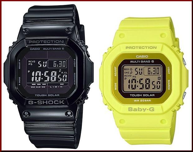 カシオ/G-SHOCK【CASIO/BABY-G】ペアウォッチ ソーラー電波腕時計 ブラック/イエロー【国内正規品】GW-M5610BB-1JF/BGD-5000MD-9JF