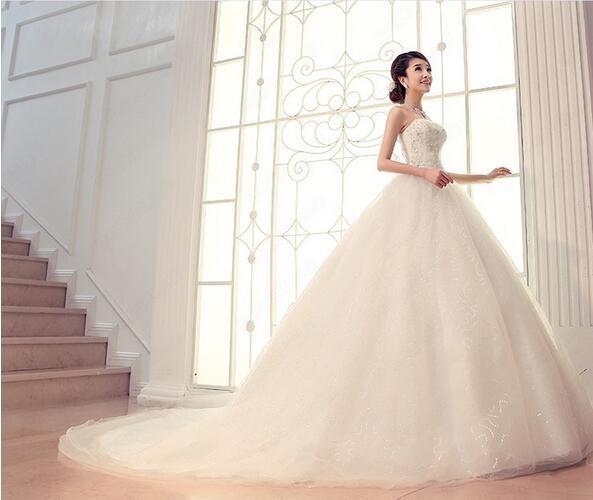 83734c5e1ca55 花嫁ドレス ウエディングドレス 披露宴二次会 気質チューブトップ Aライン ロングトレーン 白 ドレス☆格安 結婚式  妊婦さんもOK