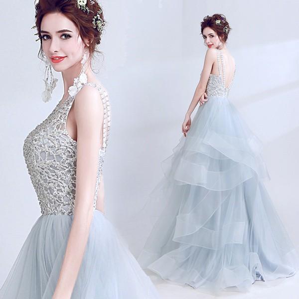 ウェディングドレス ロングドレス 二次会 ファスナータイプ レース カラードレス パーティードレス・結婚式・