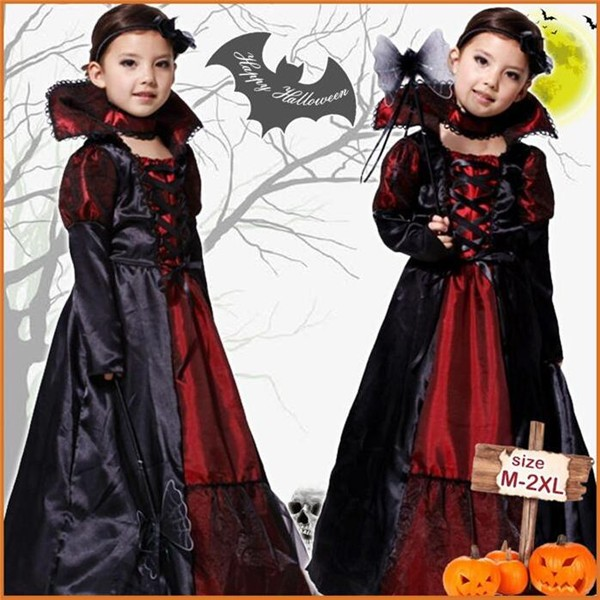 即納!送料無料!ハロウィンコスプレ衣装 バンパイア・悪魔・吸血鬼・ゾンビ・ドラキュラ Halloween 子供・キッズ 女の子 仮装 イベント