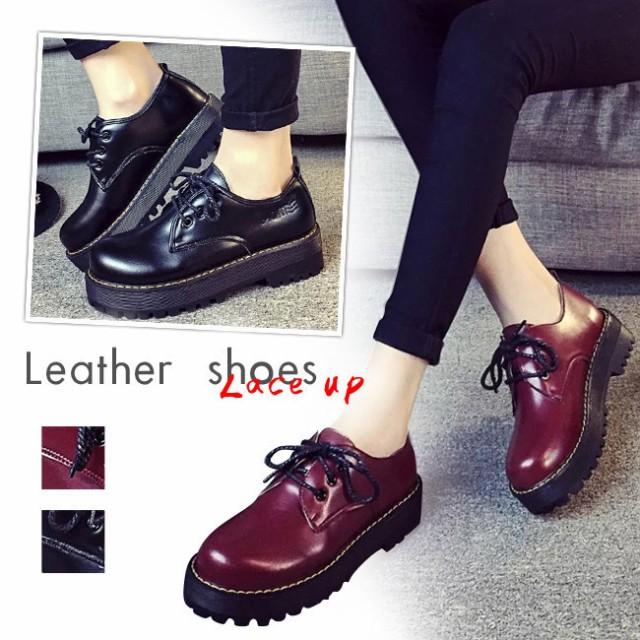 靴/ラウンドトゥ/シューズ/マーチン/厚底/レディース/女性/ラバーソール/ショートブーツ/イングランドレトロなデザイン