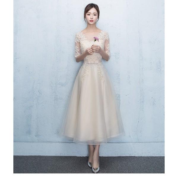 パーティードレス 結婚式 ドレス 袖あり ロングドレス 二次会 ドレス ウェディングドレス イブニングドレス 花嫁