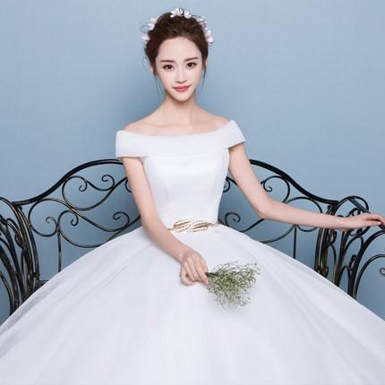 韓国風新品レディースウェディングドレス二次会パーティードレス シンプルドレス 司会者ふわふわ撮影写真