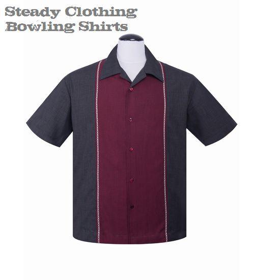 【8月上旬入荷予定】送料無料【Steady Clothing】メンズ/半袖シャツ/ブランド ロック/ロカビリー ボウリングシャツ チャコール×ワイン