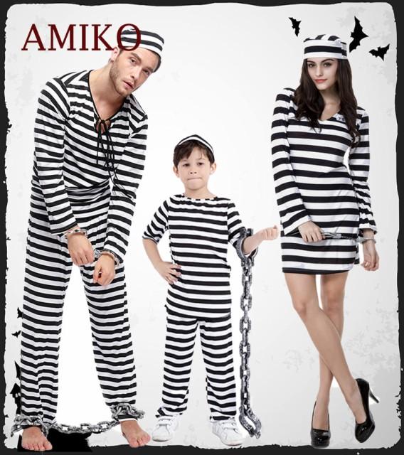 囚人 コスプレ ハロウィン仮装 囚人 コスチューム 衣装 ゾンビ カップル 家族 お揃い 親子ペア メンズ 大人用 子供用 キッズ