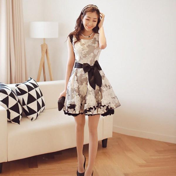83083b11e0b91 ワンピース (花柄 フラワー) ノースリーブ パーティードレス ドレスワンピ Aライン オーガンジー モノトーン レース  韓国ファッションの通販はWowma!
