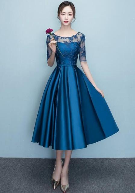 パーティードレス 結婚式 袖あり 二次会 ドレス ウェディングドレス ミモレ丈 二次会 花嫁 披露宴 お呼ばれ