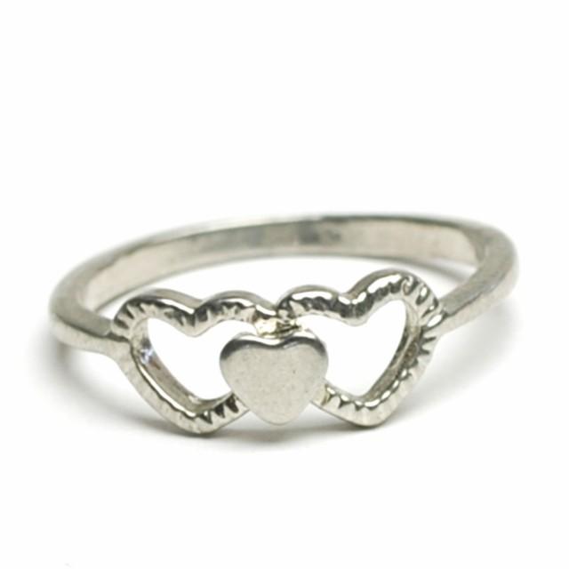 トリプル ハート ピンキー リング 5号 ミディ レディース メンズ 指輪 アクセサリー f,er905