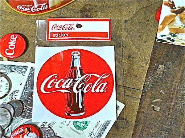 アメリカン雑貨★コカコーラ グッズ ステッカー ロゴ、ボトル丸型-HS0015
