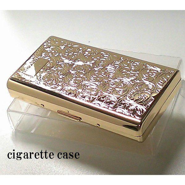 シガレットケース ゴールドアラベスク コンパクト ロングサイズ対応 タバコケース 金 14本収納 坪田パール社製 たばこケース
