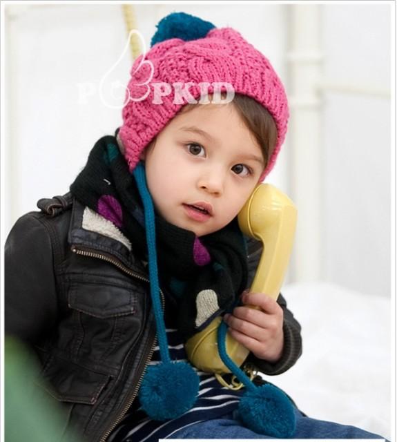 【送料無料】ベビー キッズ ニット帽 ボンボン付き ケーブル編み バイカラー おしゃれ ボンボン 子供 可愛い