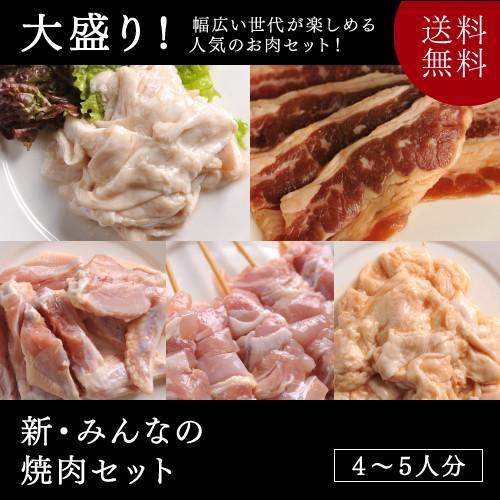 新・みんなの焼肉セット【送料無料】 (牛カルビ・味付きとり串・味付き手羽先・豚みそホルモン・豚塩ホルモン)
