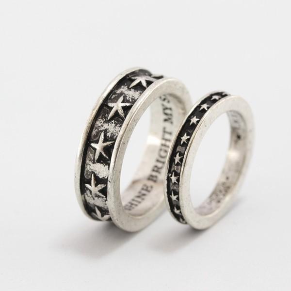 指輪2本セット スター 星柄 指輪 ブランド Roen BLACK ロエン ブラック