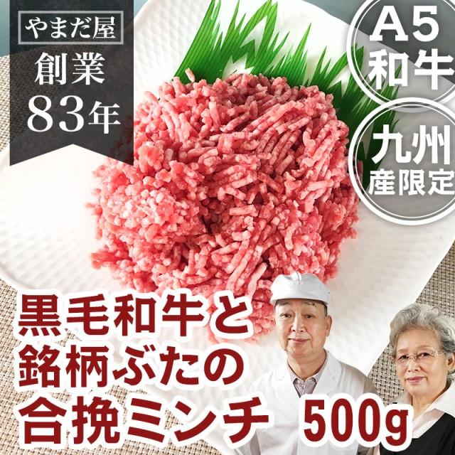 九州産 黒毛和牛(鹿児島/佐賀/長崎)牛肉 和牛 A5 5等級と鹿児島県産はいからポーク 銘柄豚 合挽 ミンチ 500g