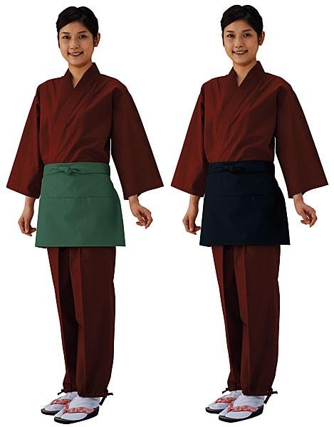 M30 和風エプロン 3ツポケ 腰下 男女兼用 全6色(興栄繊商株式会社 厨房 白衣 ユニフォーム)