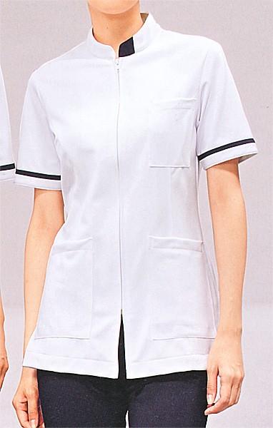 73-1288 ジャケット レディス・半袖 (白/ネイビー) 全1色 (看護師 ドクター ナース 介護 メディカル白衣 モンブラン MONTB