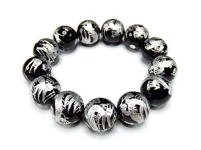 【開運】超大玉迫力天然石18mm4Aオニキス昇竜手彫り銀箔数珠ブレス