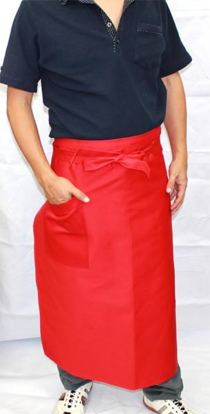 1950-02 綿葛城100% レッド ソムリエエプロン 前掛 (厨房 調理 白衣 前掛け 前掛)