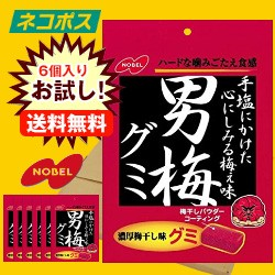 【全国送料無料】【ネコポス】 ノーベル製菓 男梅グミ 38g×6個入