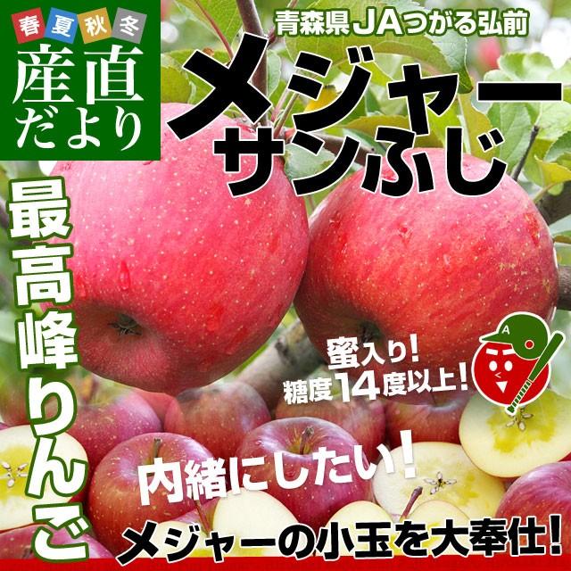 青森県より産地直送 JAつがる弘前 メジャー サンふじ 約3キロ(小玉13玉)送料無料 りんご 林檎 産直だより
