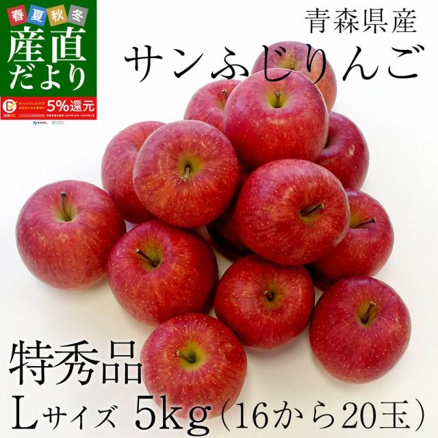 青森県産 サンふじりんご  特秀品 Lサイズ 5キロ (16玉から20玉) 送料無料 ふじりんご 林檎 産直だより plus