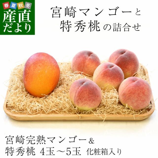 宮崎マンゴーと特秀桃 詰合せフルーツセット 化粧箱入り まんごー もも 送料無料 お中元ギフト 産直だより plus