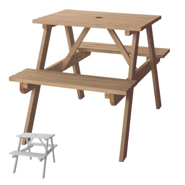 ガーデンテーブル テーブル ベンチ W75 ( ガーデンチェア ガーデンセット ウッドテーブル ウッドチェア コンパクト 収納 木製 アウトド