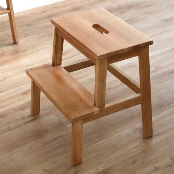 踏み台 高さ47cm ステップ台 天然木 木製 オーク材 スツール 腰掛 ( 2段 玄関 チェア イス いす チェアー 木製スツール 木製チェア 腰掛