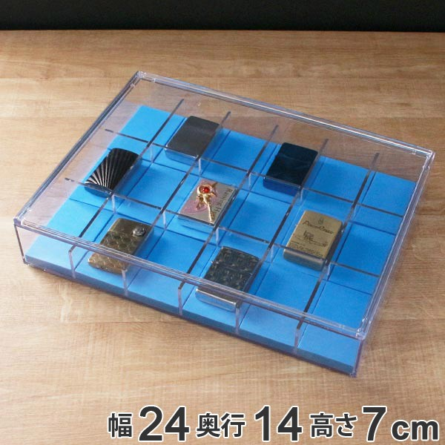 ライターコレクションボックス 18マス フラット型 ライター コレクションケース クリアケース クリア 透明 収納 ( クッション付き コレ