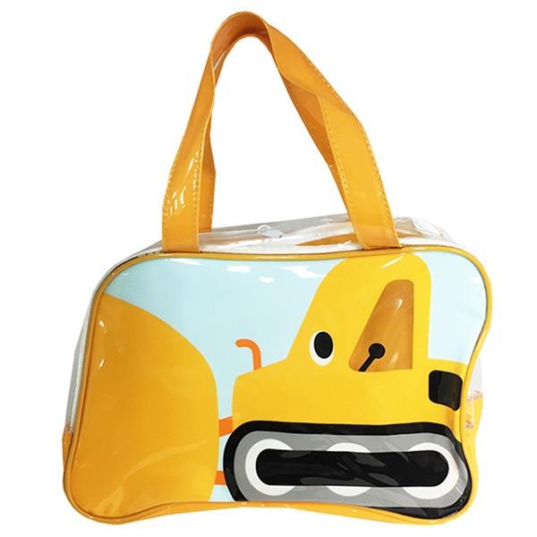 ビニールボストンバッグ ブルドーザー プールバッグ 子供用 ( 男の子 ビニールバッグ キッズ 幼稚園 保育園 サマーバッグ スイミングバ