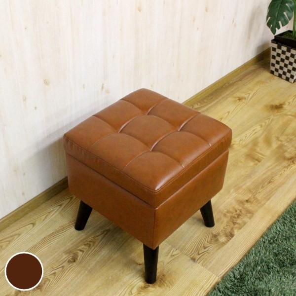 スツール 幅40cm 収納 PVC レザー調 脚付き 腰掛 イス 椅子 アンティーク調 ( レザー風 収納イス いす 背もたれなし ボックスタイプ 腰
