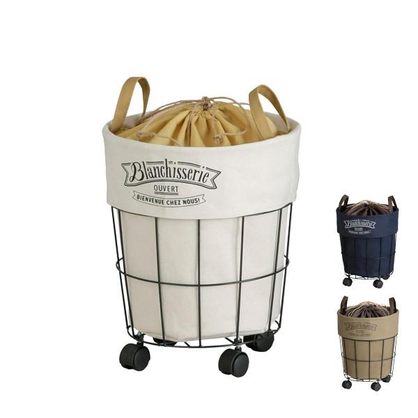 ブロンシスリ ラウンドカート ( ランドリーバスケット ランドリーボックス ワゴン 布 おしゃれ 洗濯かご 洗濯用品 ランドリー バスケッ