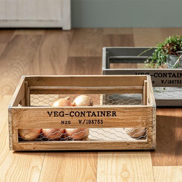 収納ボックス ベジウッド ボックス S コンテナ 木製 天然木 持ち手付き ( スタッキング 積み重ね 木箱 アンティーク 野菜ストッカー 収