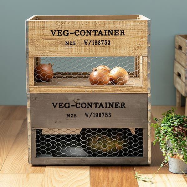 収納ボックス ベジウッド ボックス L コンテナ 木製 天然木 持ち手付き ( スタッキング 積み重ね 木箱 アンティーク 野菜ストッカー 収