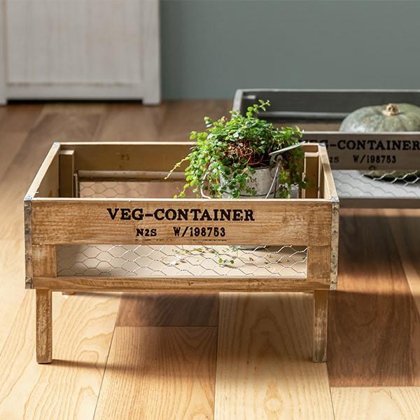 収納ボックス ベジウッド レッグボックス コンテナ 木製 天然木 持ち手付き ( スタッキング 積み重ね 木箱 アンティーク 野菜ストッカー