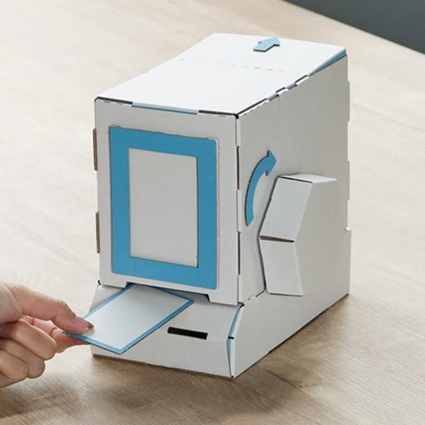 ダンボール おもちゃ カード販売機 WOWシリーズ 工作 組立 ( 工作キット ペパークラフト ペーパーアート キット 券売機 貯金箱 段ボール