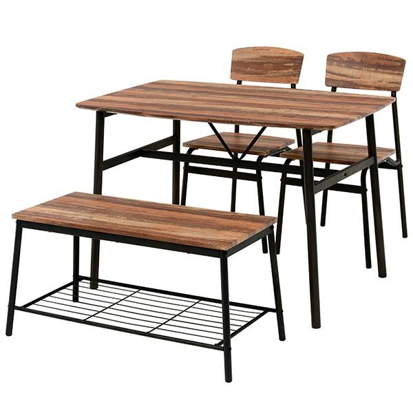 ダイニングセット 4点セット テーブル 幅105cm チェア 2脚 ベンチ コンパクト 木目調 ( ダイニングテーブル ダイニングチェア 4人掛け