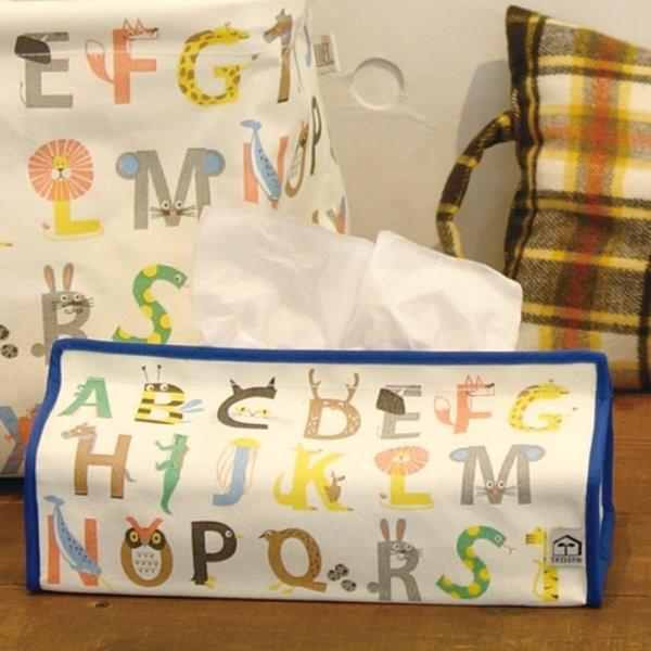 ティッシュケース アンファン アルファベット tente 吊り下げ ( ティッシュカバー ティシュ入れ ティッシュボックス 布製 壁掛け 置き型