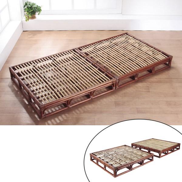 籐 ラタンベッド すのこベッド セパレート式 シングル 幅100cm ( 送料無料 アジアン家具 ラタン家具 シングルベッド ベッドフレー