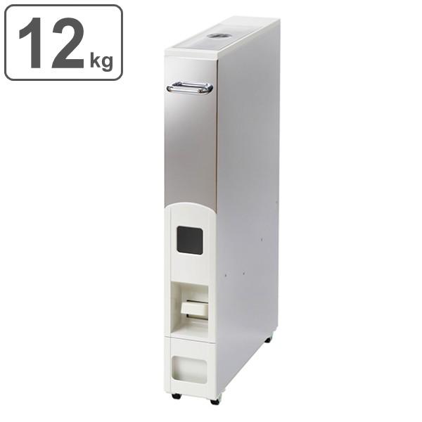 米びつ 10kg用 スリム 幅10cm キャスター付き ステンレス スリムライスディスペンサー 12kg ( ライスボックス 米櫃 無洗米兼用 10キロ用