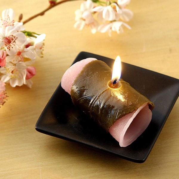 さくら餅キャンドル ( キャンドル ローソク ろうそく 蝋燭 スイーツキャンドル フェイクキャンドル フェイク 仏壇 仏前 御供 お墓参り