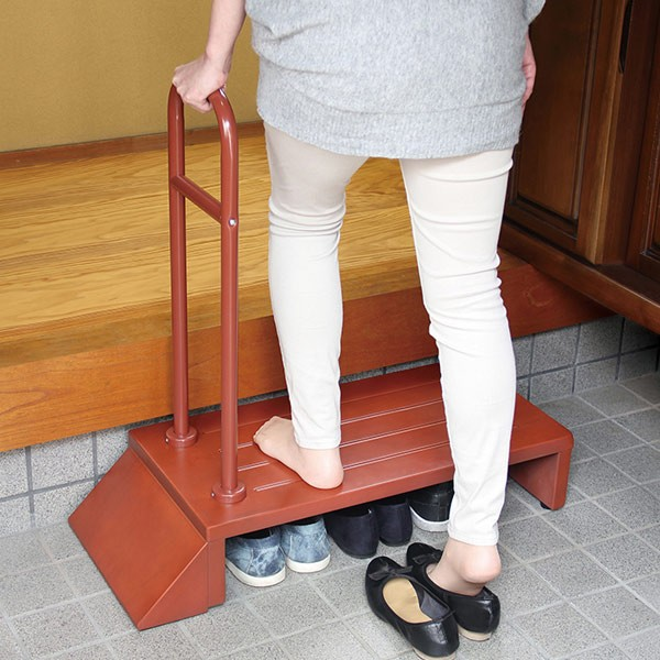 踏み台 玄関ステップ 手すり 木製 組立品 ( 送料無料 約 幅81cm 玄関 段差 玄関台 手すり付き ステップ台 転倒防止 介護 台 ステップ 天