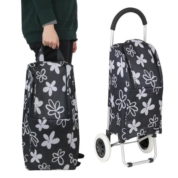 ショッピングカート 大容量 折りたたみ アルミ製 バッグ付 花柄 ( カート 折り畳み 2輪 アルミ キャリーカート バッグ 取り外し ショッ