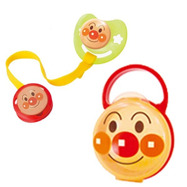 おしゃぶりセット アンパンマン S シリコン乳首 日本製 キャラクター ( おしゃぶり おしゃぶりホルダー 消毒ケース 新生児 ベビーグ