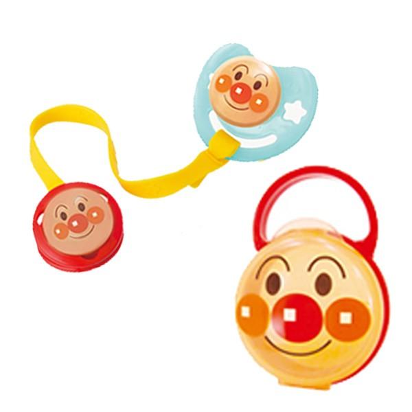 おしゃぶりセット アンパンマン M シリコン乳首 日本製 キャラクター ( おしゃぶり おしゃぶりホルダー 消毒ケース ベビーグッズ 赤