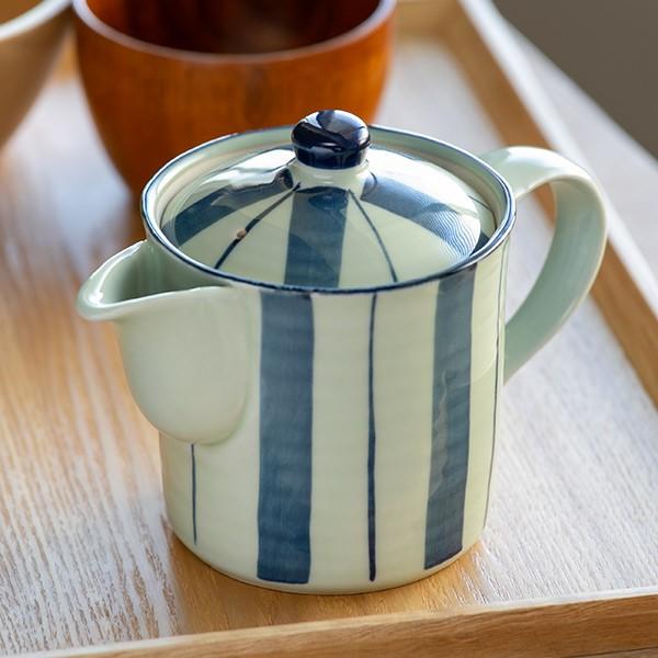 切立ポット 400ml 染十草 茶こし付き 急須 ポット ティーポット 陶器 ( 食洗機対応 切立急須 茶漉し付き 2〜3杯 切立 紅茶ポット 和風